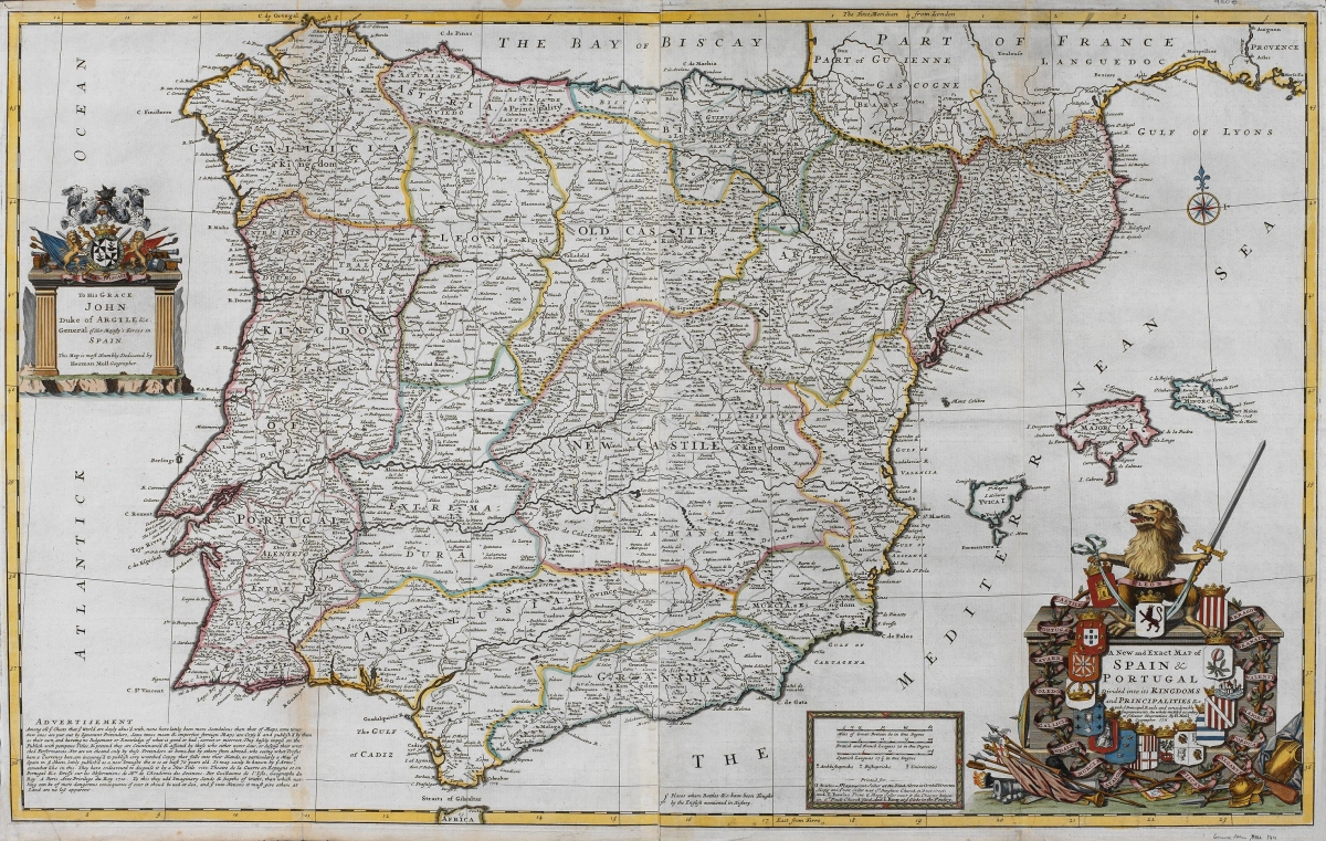 1711 - A new an exact map of Spain and Portugal  divided into  its Kingdoms and Principalities.